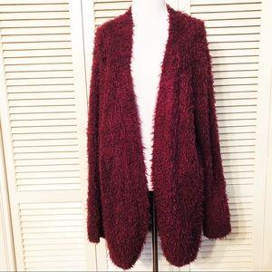 Kensie | Burgundy Open Front Fuzzy Cardigan